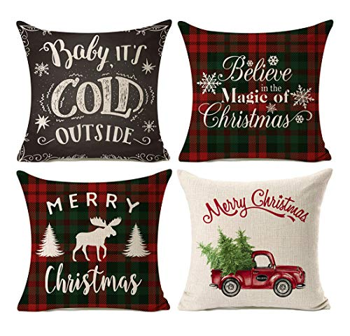 Kithomer Set of 4 Christmas Decorations Pillow Covers Christmas Buffalo Plaid Farmhouse Decor Throw Pillow Cases Cushion Cover 18 x 18 Inch