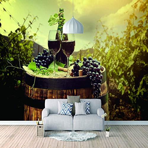 Papel Pintado 3D Murales Vino Sunshine Cask- Fotomurales Para Salón Natural Landscape Foto Mural Pared, Dormitorio Corredor Oficina Moderno Festival Mural 150x105 cm - 3 tiras