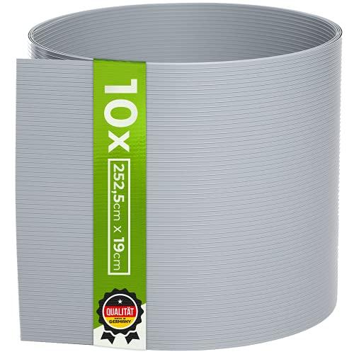 TerraUno - Premium Hart PVC Sichtschutzstreifen für Doppelstabmatten - 10 Stück für Gartenzaun I 2,525mx19cm I Grau I Made in Germany I Sichtschutz für den Zaun