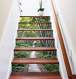FLFK 3D Bamboo Forest Path Stair Riser Stickers Self-Adhesive Vinyl Staircase Stickers 39.3