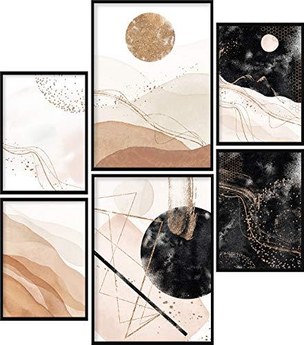 Calias® Premium Poster Set Beige | Bilder Set für Wohnzimmer Deko oder Schlafzimmer Deko | Stilvolle Wanddeko | 6er Set ohne Rahmen | 2X DIN A3 und 4X DIN A4