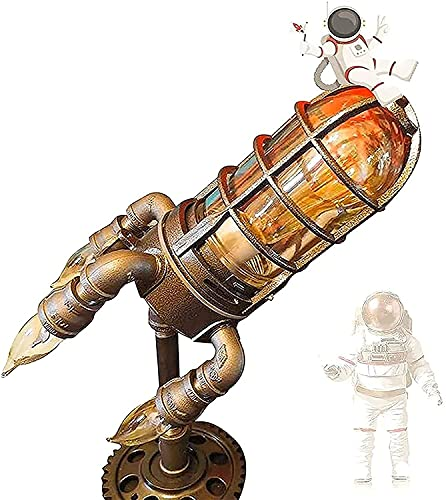 LSWY Lámpara de cohete Steampunk, lámpara de mesa de cohete LED, lámpara de mesa de tubería de agua industrial vintage, reflejo de cohete con llamas intermitentes para barra de oficina sala de estar y