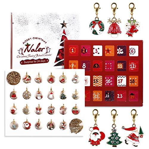 Naler 24 x Charms Adventskalender Schmuck Anhänger mit Ketten und Armband für Weihnachten