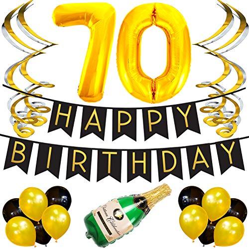 Cumpleaños Número 70 – Paquete con Banderín de Feliz Cumpleaños Negro y Dorado, Pompones y Serpentinas - Decoración para Cumpleaños – Artículos para la Fiesta de Cumpleaños Número 70