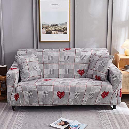 Estiramiento Funda de sofá 2 Plazas 1 Pieza Antideslizante Fundas Impresa para Sofas Sofás Cubre Sofá Ajustable Protector de Muebles 2 Fundas de Almohada Corazón Amor Rojo Gris