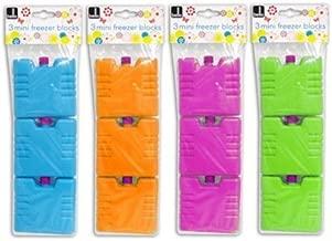 Set of 3 Mini Ice Brick Pack Block Blocks Freezer Cooler Bag Box Travel Picnic (Assorted Colors)