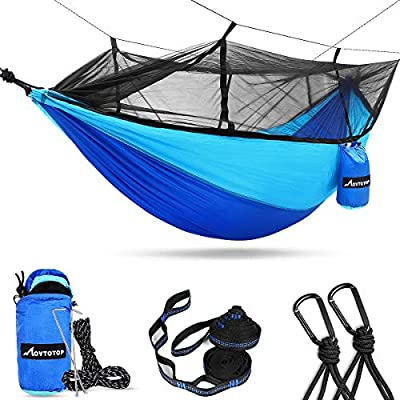MOVTOTOP Camping Hammock,Double Hammock with 2 Tree Straps & 2 Sand Stakes—Larger Space,Portable Hammock for Camping,Backpacking,Travel,Survival,Beach,Yard(Blue,Non-Removable)
