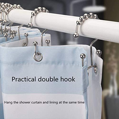 Three T Shower Curtain Hook Ring Rust-Proof Metal Double Sliding Shower Curtain and hook12-piece Set (Matt Black)