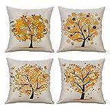 MIULEE Pack Von 4 Dekorative Bäumen Serie Orange Baum Kissenbezug Kissen Fällen Wurfkissen...