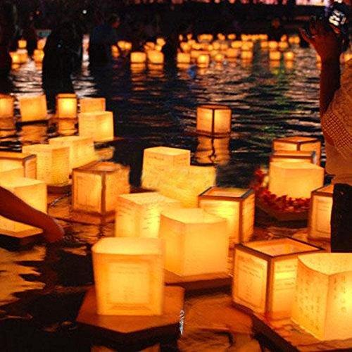 Bazaar Chinesisches Papier Platz wünschen Schwimm Fluss Candle Laternen Lampen Licht