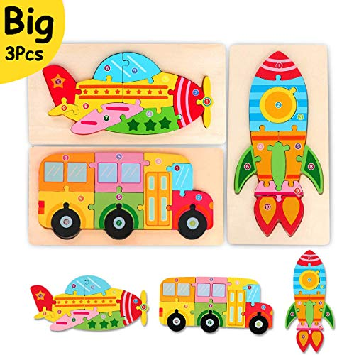 Toddler Puzzles Toys Gift for 2 3 4 Year Old, Wooden Learning Montessori Toys Preschool Educational Toddler Activities Peg Puzzle Games Bus Plane Rocket Pattern Fine Motor Skills Age 1-2 1-3 2-4