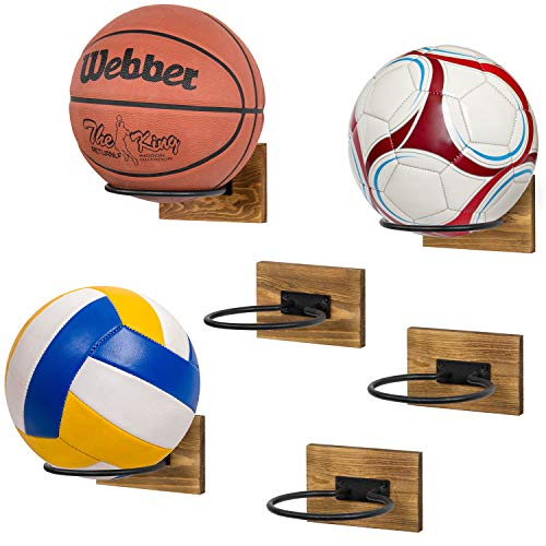 MyGift Rustic Wood & Black Metal Wall-Mounted Sport Ball Equipment Storage Rack & Display Holder, Set of 6