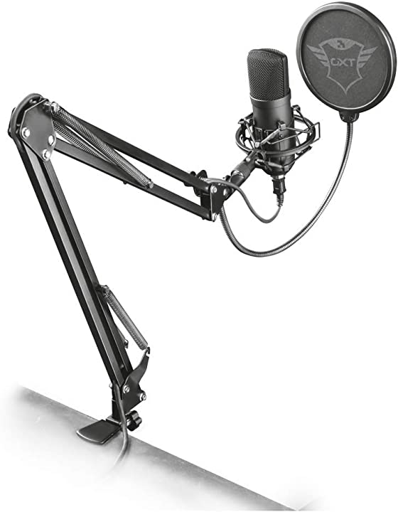 Trust gaming gxt 252 emita plus microfono usb professionale a condensatore con braccio pc, ps4 e ps5 22400