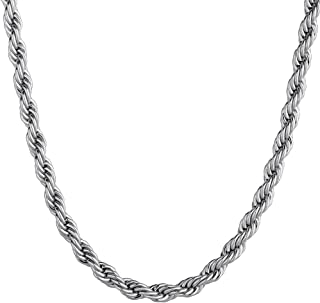 KRKC&CO 3mm Rope Chain, 14k Gold Rope Chain, Solid No Tarnish Chain Necklace Durable Urban Street-wear Hip Hop Jewelry for Men & Women 20 22 24 inches