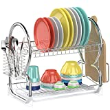 Dish Drying Rack,Ace Teah 2 Tier Dish Drainer with Utensil Holder Stainless Steel Dish Rack,Silver