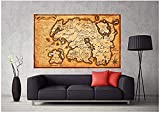 WFLWLHH Lienzo para pared Giclée Posters and Prints Mapa de Tamriel de Elder Scrolls Skyrim Póster en lienzo para pared (50 x 75 cm) sin marco