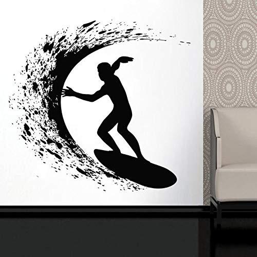 Tabla de surfista surf ola océano deportes extremos pegatina de pared vinilo arte decoración del hogar habitación de niños adolescentes dormitorio calcomanías Mural-44x42cm
