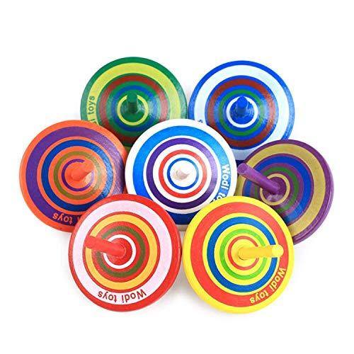 Herefun 16 Pièces Toupie en Bois, Petites Toupie Coloré, Mini Spinning Top en Bois Gyroscopes pour Jouet de Fête des Enfants (Couleur Aléatoire)