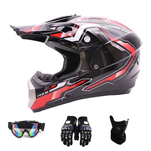 San car Motorcycle Helmet,Outdoor Full Face Dirt Bike Helmets ATV/MX Offroad Motocross Adult Motorcycle Helmet(Gloves, Goggles, Mask, 4 Piece Set),Blackbright,L