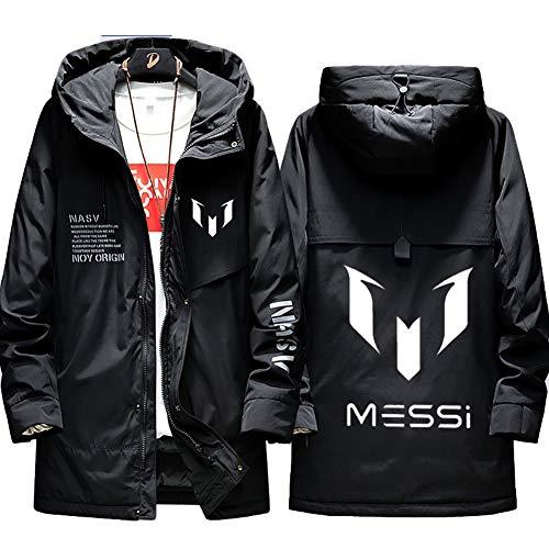 73HA73 Herren Warme Winterjacke Fútbol Club Barcelona Lionel Messi Jacke Kapuzen Coat Hoodie Komfortable Übergangsjacke Sweatshirt Jacken (No Shirt),Black,3XL(185-190cm)