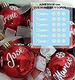 TOKPERSONAL 6 Nombres y 18 Mini Copos Adhesivos para Tus Bolas de Navidad (Bolas DE Navidad NO Incluidas- Solo Incluye 6 Nombres Adhesivos y 18 Copos DE Navidad Adhesivos - Color Blanco