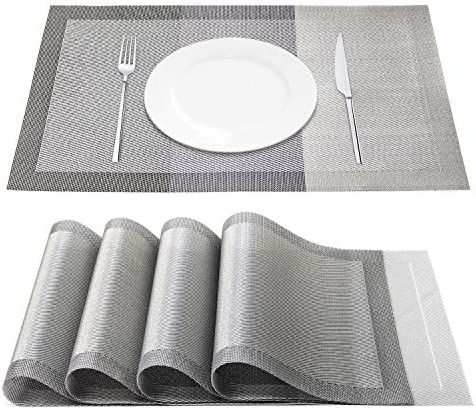 Chrider Placemats Set of 4 Heat Resistant Woven Vinyl Placemat Washable PVC Mats Set Non Slip product image