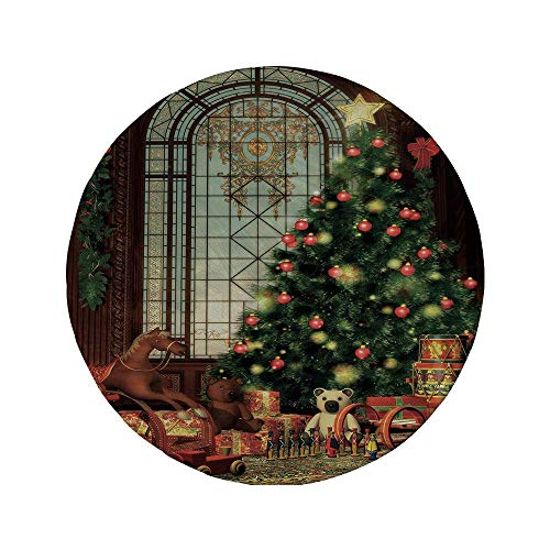 Rutschfreies Gummi-rundes Mauspad Weihnachten magisches Vintage-Ambiente Großes altmodisches Fenster Weihnachtsbaum Verschiedene Geschenke Dekorativ Braun Rot Grün 7.9