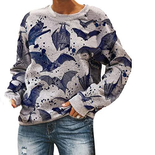 Janly Clearance Sale Blusa de manga larga de tamaño grande, con estampado de murciélago, manga larga, para invierno, Navidad, Acción de Gracias (gris/M)