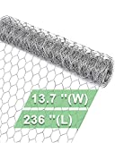 Garden Poultry Chicken Wire Netting - 13.7 '' × 236 '' Garden Fence Animal Barrier, Chicken Wire for Crafts, 1 inch Mesh Poultry Netting Fence, Pet/Rabbit/Chicken Wire Fencing