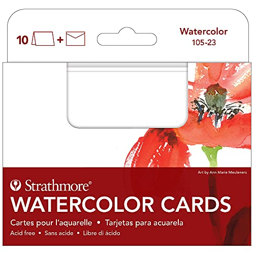 Strathmore 105-23-1 Watercolor Cards, Cold Press, 3.5' x 4.875', 10 Envelopes, Cards & Envelopes