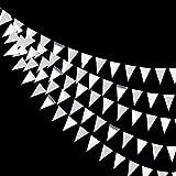 30Ft Triangolo Argento Bandiere Banner Doppio lato Carta Metallizzata Gagliardetto Stamina Ghirlanda per Matrimonio Baby Bridal Shower Compleanno Addio al Nubilato Anniversario Forniture per Feste