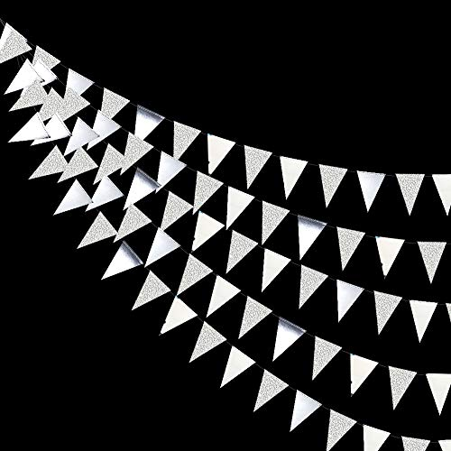 30 Ft Silver Party Decorations Glitter Metallic Paper Triangle Banner Flag Garland Pennant Bunting for Wedding Engagement Graduation Anniversary Bachelorette Birthday Baby Bridal Shower Party Supplies