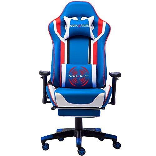 NOKAXUS - Silla de Oficina para Videojuegos tamaño Grande Respaldo Alto Asiento de Carreras con masajeador Soporte Lumbar y reposapiés retráctil Ajuste de 90-180 Grados del Respaldo (Yk-6007-blue)
