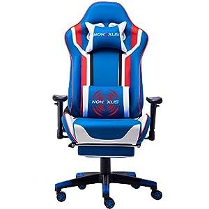 NOKAXUS – Silla de Oficina para Videojuegos tamaño Grande Respaldo Alto Asiento de Carreras con masajeador Soporte…
