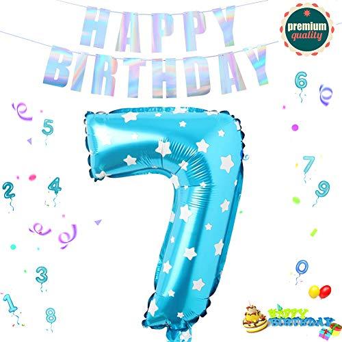 Sunshine smile Folienballon Zahl in Blaue Sterne,Luftballon Zahlen,Riesige Folienballon,Zahl Geburtstagsdeko,Geburtstag Dekoration bunt,Party Supplies Folienballon im Zahlen-Design (7)