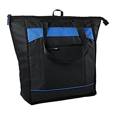 Rachael Ray ChillOut Thermal Tote, Insulated Bag for  Grocery Shopping /Entertaining, Transport Hot and Cold Food, Black with Blue Trim
