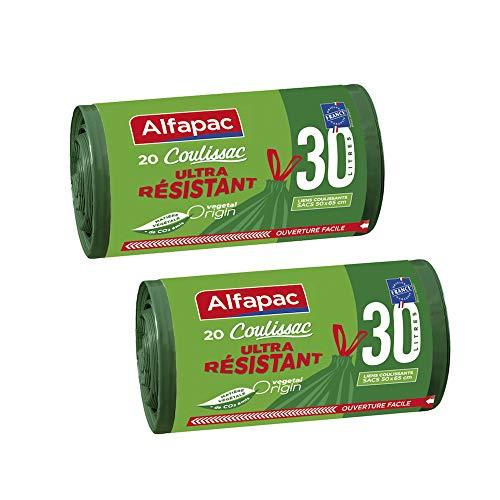ALFAPAC - 20 sacs 30L à liens coulissants - Sacs Poubelle Ultra Résistant - Vegetal Origin - Lot de 2 - Sacs verts de dimensions 50 x 65 cm.