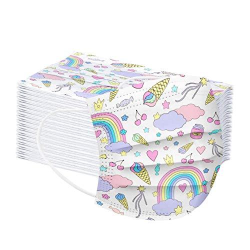 AmyGline 50 Stück Kinder-Mundschutz mit Motiv Cartoon Druck,Einweg_3-lagig_Staubdicht,Atmungsaktiv Mundbedeckung Bandana Halstuch für Jungen und Mädchen (R-Regenbogen, 50PC)