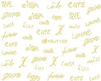 ネイルシール アルファベット 文字 パート2 ブラック/ホワイト/ゴールド/シルバー 選べる44種 (ゴールドGP, 22)