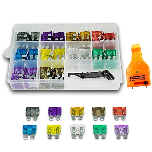 150x Blade Car Fuses Assortment Kit 2A/3A/5A/7.5A/10A/15A/20A/25A/30A/35A AMP Assorted Set +Puller ATC/ATO +Fuse Tester for Boat,Marine,RV,SUV……
