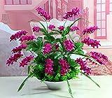 LXFLY Flores Artificiales Hogar Oficina de la Decoración Dormitorio Sala de Estar Flor Falsa Establecer Maceta de orquídeas Rojas caseras
