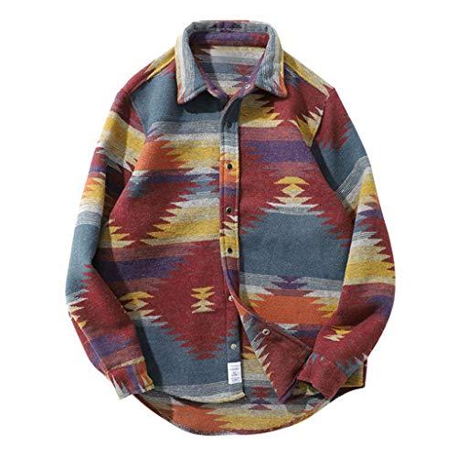 TOFOTL Maglione di personalità della Moda, Top Giacca Camicia Casual Allentata a Maniche Lunghe Stile Etnico da Uomo alla Moda