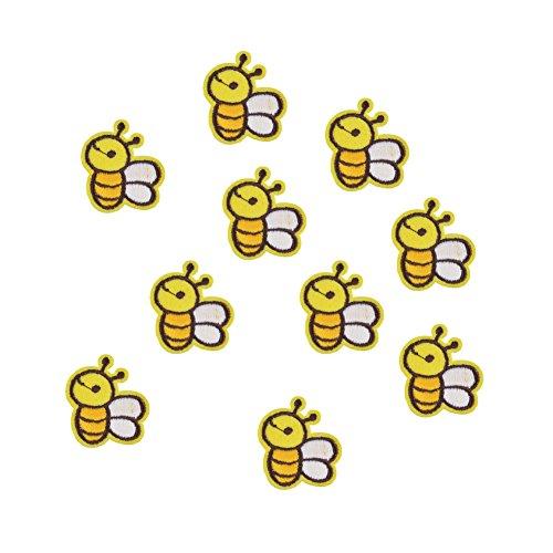 XUNHUI Biene Flicken gestickt Aufnäher Cartoon Tier bestickt Aufbügler für Kind Kleidung Applikation DIY Zubehör 10 Stück