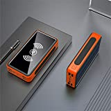 30000mAh Wireless Solar Power Bank Portable Big Capacity External Battery Quick Charge Powerbank for Xiaomi Samsung iPhone Orange