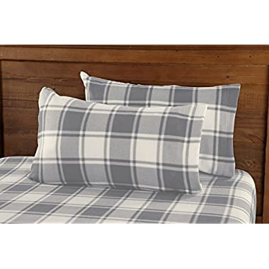 Great Bay Home Super Soft Extra Plush Plaid Polar Fleece Sheet Set. Cozy, Warm, Durable, Smooth, Breathable Winter Sheets with Plaid Pattern. Dara Collection By Brand. (Full, Grey)