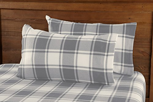 Great Bay Home Super Soft Extra Plush Plaid Fleece Sheet Set. Cozy, Warm, Durable, Smooth, Breathable Winter Sheets with Plaid Pattern. Dara Collection Brand. (Queen, Grey)