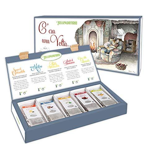 """4 Confezioni C'ERA UNA VOLTA Cofanetto Regalo di Tisane Assortite 25 filtri - In omaggio il libro """"L'isola del Tè"""" un viaggio dalla piantagione alla tazza, con incluso 60 ricette culinarie per il Tè"""