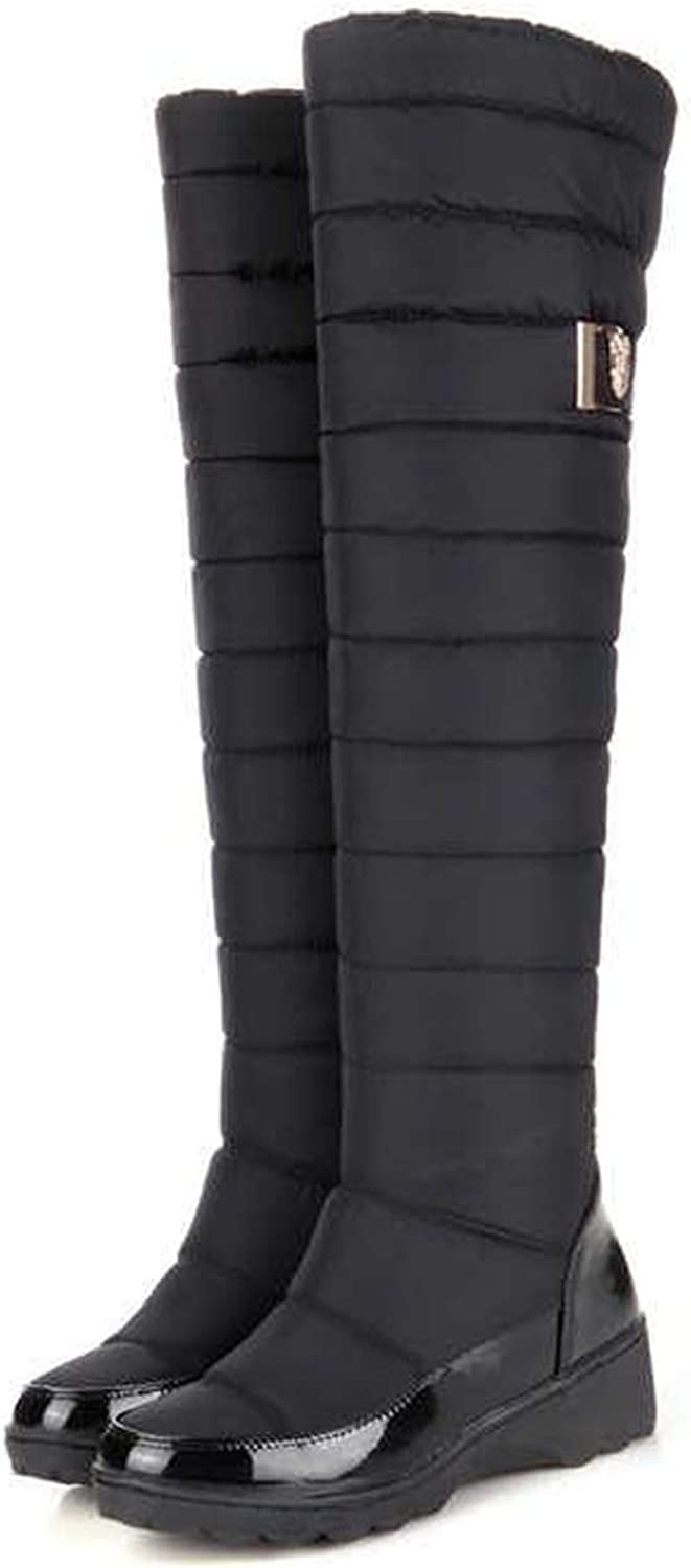 colorful Dream- Russia Winter Boots Women Warm Knee high Boots Round Toe Down Fur Ladies Fashion Thigh Snow Boots shoes Waterproof Botas