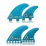 Naked Viking Surf Medium JL Quad Surfboard Fins (Set of 4) Blue FCS Base