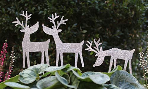 LB H&F Lilienburg Weihnachtsdeko Silberstecker Silber Glitzer Metall wetterfest (Rentier Set Silber)